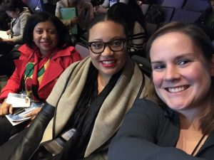 (From left) Kimberly Knight, Allison Matthews, and Liz Kelly from the searcHIV team at the meeting